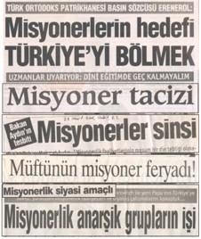 Misyonerlik ile ilgili bazı gazete başlıkları